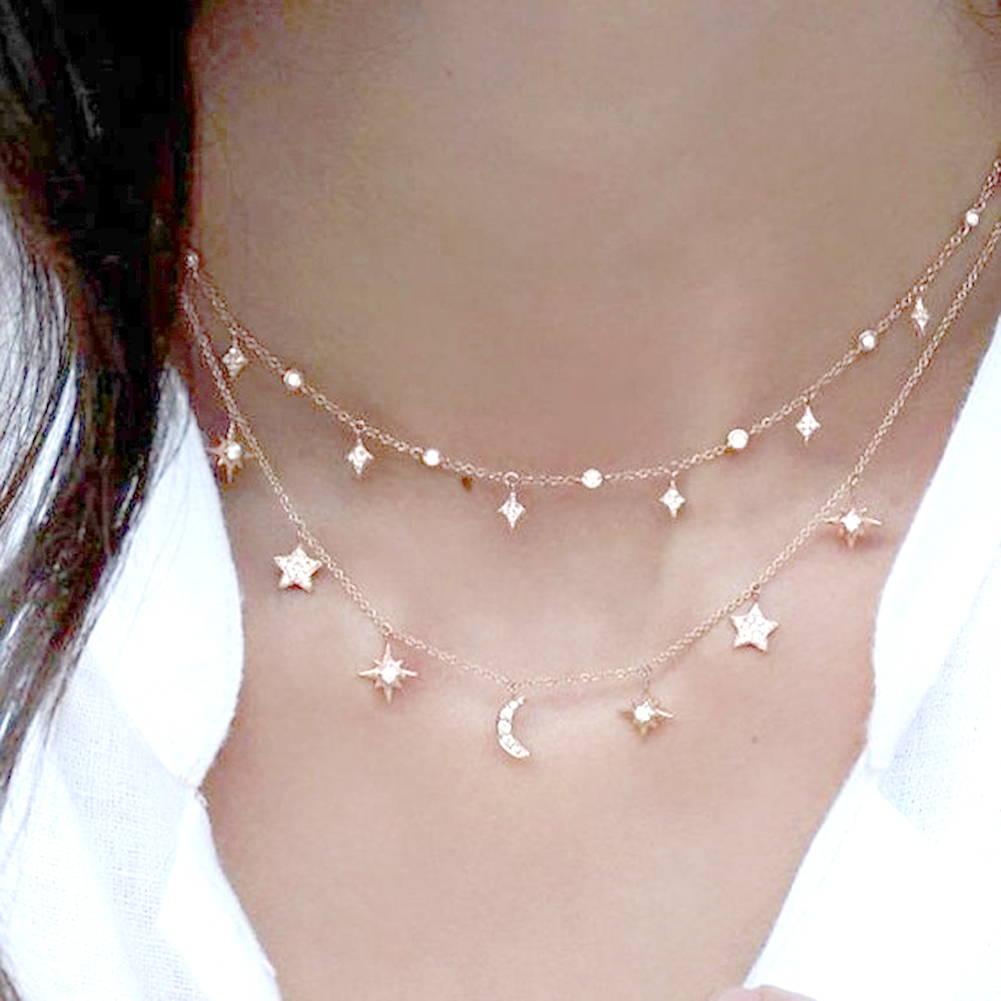 Elegant Jewelry Shiny Rhinestone Moon Star Pendant Charm Collar Lady Necklace