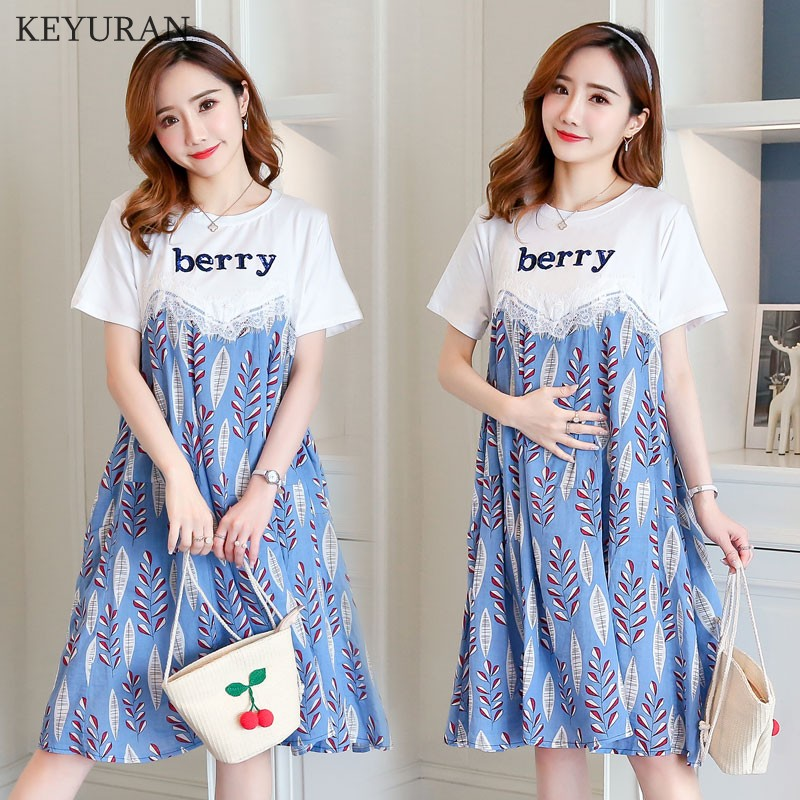 2018 Summer New Maternity Clothes Casual Fashion Lace Letter Leaves Print Patchwork Short Sleeves Dress Maternity Clothing Y202