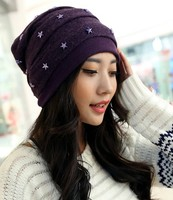 Fashion Stripes Stars Female Warm Winter Cap Outside Comfortable Breathable Hat 5color 1pcs Brand New Arrive
