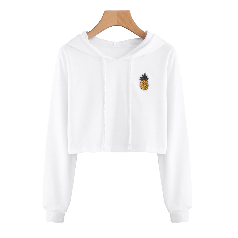 Women Sexy Short Sweatshirt Hoodies Long Sleeve Pullovers Tops Hoody Sweatshirt For Women Cute Pineapple Printed