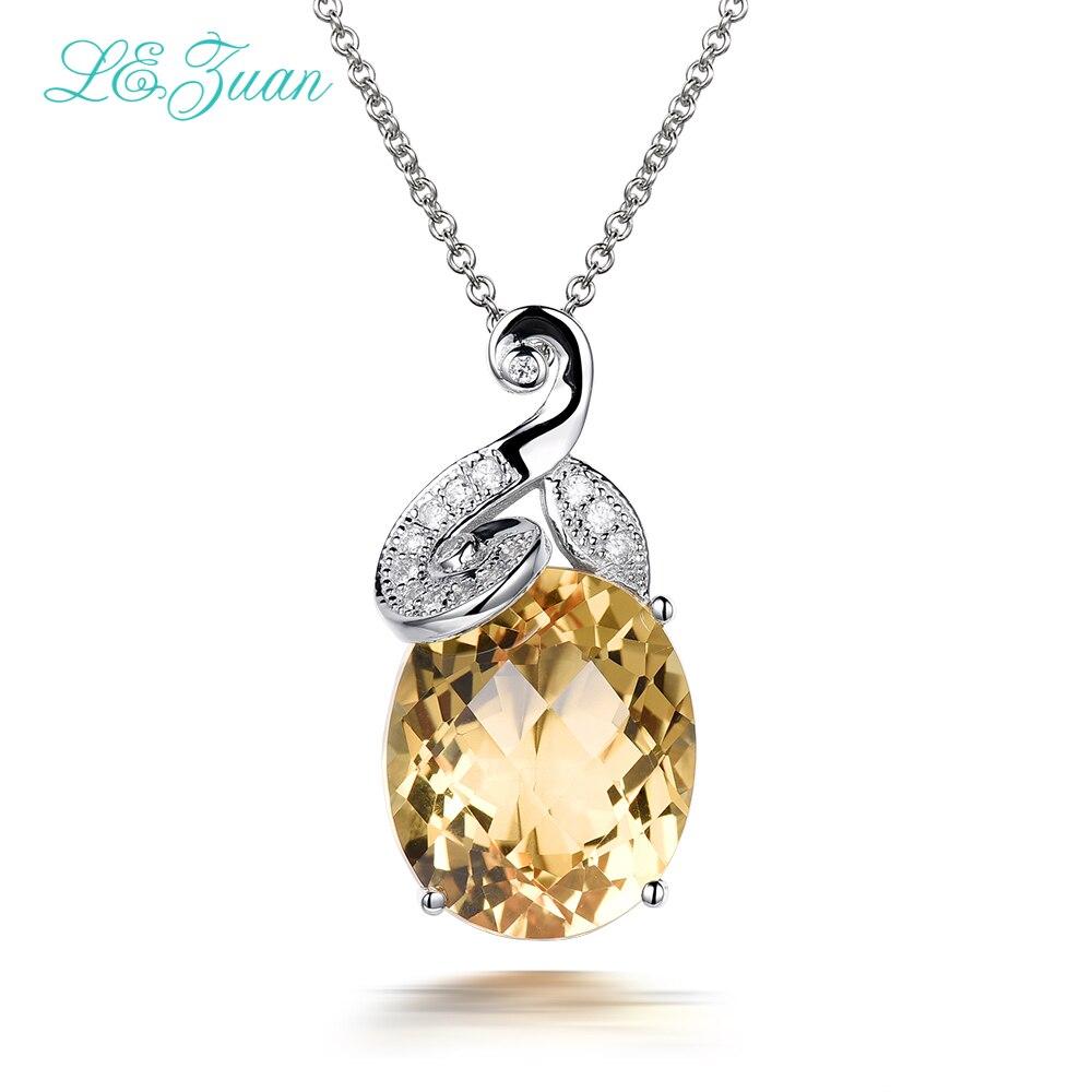 L & zuan 925 collier Sterling Collana Donna femmes colliers avec pendentifs en argent 7.17ct naturel Citrine bijoux fins P0054-W05