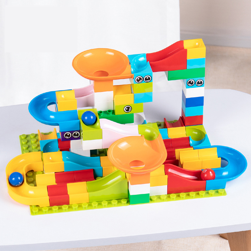 Model Building Symbol Of The Brand Zhorya 52-208pcs Marble Race Run Maze Ball Track Building Blocks Abs Plastic Funnel Slide Compatible Legoingly Duploingly Gift Blocks
