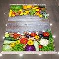 Else Woods on Зеленый Желтый Красный Фиолетовый фрукты овощи 3d микрофибра Противоскользящий задний моющийся декоративный коврик для кухни