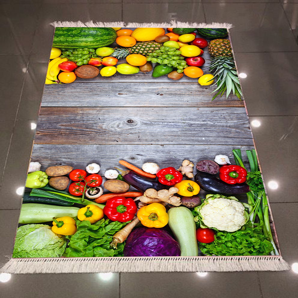 Else Woods On Green Yellow Red Purple Fruits Vegetables 3d Microfiber Anti Slip Back Washable Decorative Kitchen Area Rug Carpet