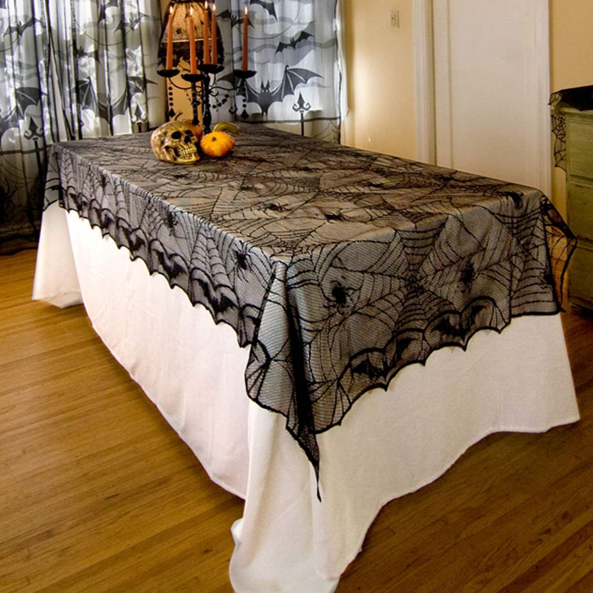 Halloween tablecloth - Polyester Black Lace Spiderweb Table Cloth Valance Tulle Bat Spider Tablecloth Halloween Party Events Diy Decoration