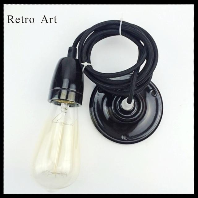 e27 e26 vintage ceiling pendant lamp cord set with ceramic lamp