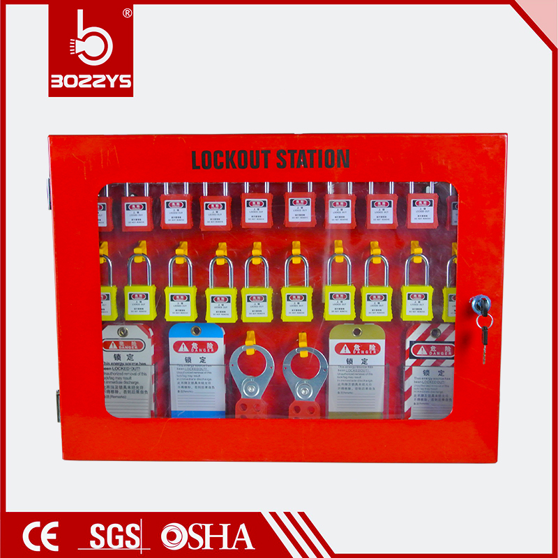 Lock management station Cluster lock box Safety lock box visualization Red box made from steel plate Safety Practical Lockout