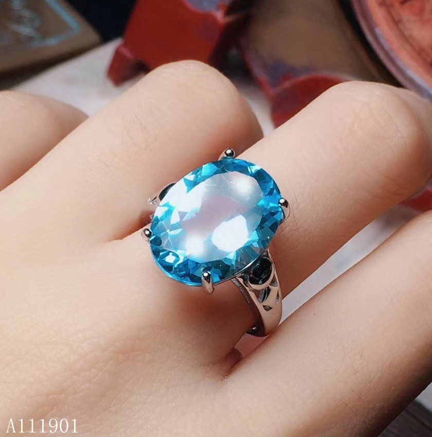 KJJEAXCMY bijoux fins 925 argent incrusté topaze naturelle Mini anneau Support détection