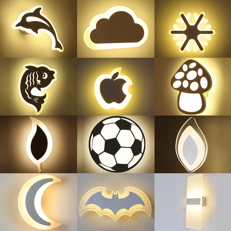 Modern Acrylic Wall Light Children's Room Bedside Bedroom LED Wall Lamps Arts Creative Corridor Aisle Sconce Decor AC85-265V