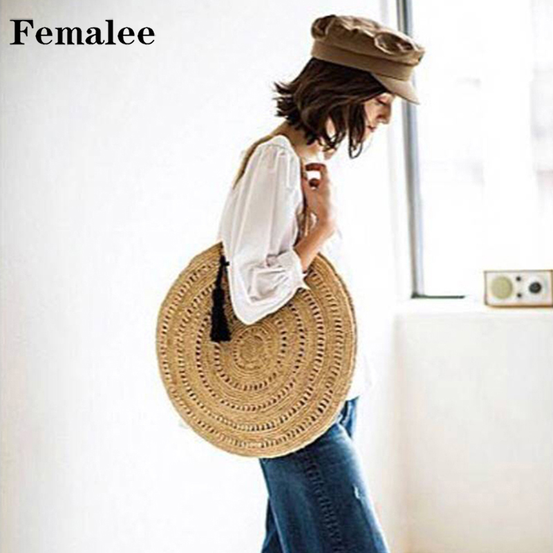 FEMALEE Tassel Ribbons Round Straw Beach Bag Big Vintage Handmade Woven Shoulder Bag Circle Bohemian Summer Vacation Handbags посудомоечная машина indesit dfp 58t94 ca nx