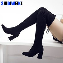 Botas altas por encima de la rodilla de ante sintético para mujer, zapatos de tacón alto, color negro, N087