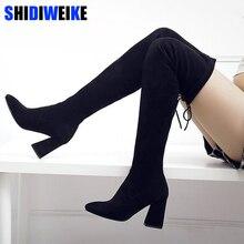 Kadın streç Faux süet uyluk yüksek çizmeler seksi moda diz çizmeler yüksek topuklu kadın ayakkabı siyah N087