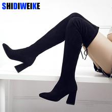 Kobiety stretch faux Suede udo wysokie buty sexy moda na kolana buty wysokie obcasy Woman buty czarny N087 tanie tanio Dorosłych Wiosna jesień Stałe Riband Krótki pluszowy Nad kolanem Masz Elastyczna tkanina Wysoka (5cm-8CM) Pasuje do rozmiaru Weź swój normalny rozmiar