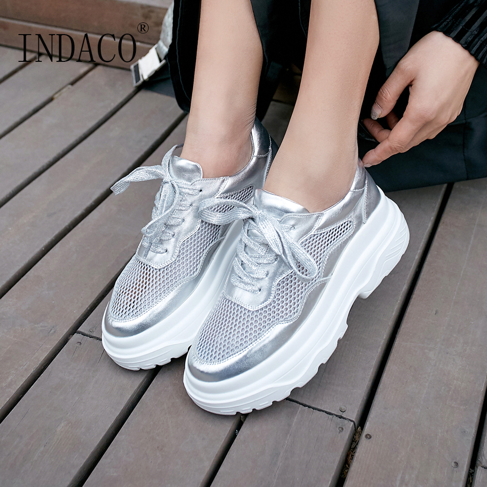 Women Sneakers Platform Silver Leather Fashion 2019 Casual Shoes 6cm 34-39