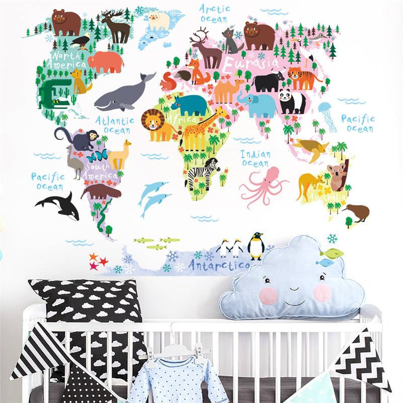 Cartoon The World Map Educational Removable Wall Stickers Animals Wall Decals For Kids Children Room DIY Poster Home Decor