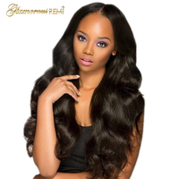 Pre Plucked Middle Part Front Lace Wig With Malaysian Virgin Human Hair For Black Women Body Wave Wavy Wigs Natural Black Color