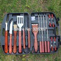 Outdoor barbecue grill cooking BBQ tools set picnic household portable roast stainless steel fittings camping kitchen 18 suit