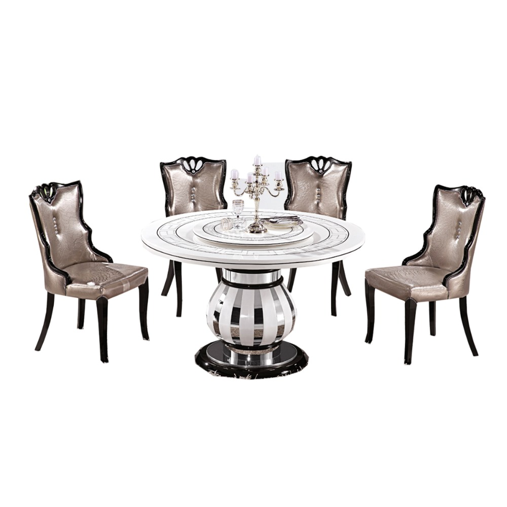Modern style wooden dinner table set marble table with 6 chairs