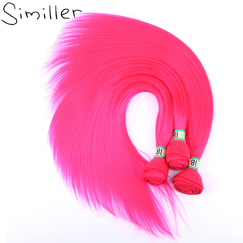 Similler One Bundle 18inches Straight High Temperature Fiber Synthetic Hair Weaving Extensions Double Weft Hot Pink