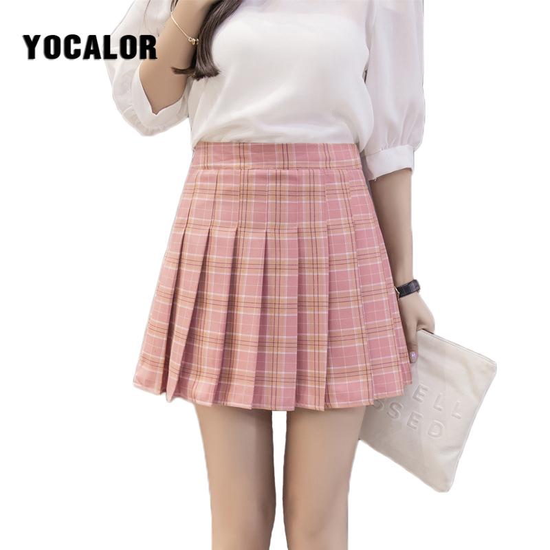 2018 Korean Style Women High Waist Mini Denim Plaid Pleated Skirt Female School Girl Short Kawaii Kilt Schoolgirl A line Summer