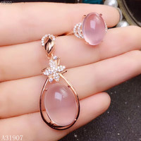 KJJEAXCMY Fine Jewelry 925 sterling silver inlaid natural powder crystal hibiscus stone gemstone female pendant necklace ring se