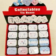 цена на 32pcs/box Cartoon Cartoon beach print Tin Box Metal Coin Saver Small Jewerly Case Pill case 16 designs Chocolate Box