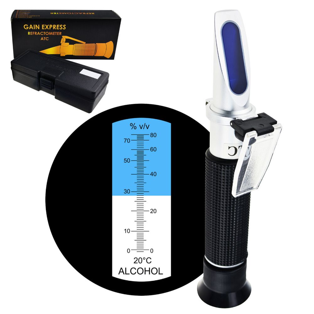Optical Handheld Concentration Tester Meter Alcohol Refractometer with ATC 0~80% VOL Volume, Distilled Beverages Wine Making alcohol refractometer for spirit alcohol volume percent measurement with automatic temperature compensation atc range 0 80%