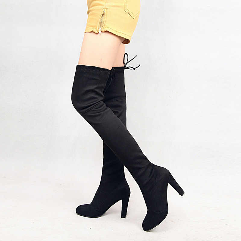 Wino czerwone uda wysokie buty stretch tkaniny szpilki z kolcami buty damskie wiosna jesień wskazał palec u nogi kobiet buty podstawowe moda PH009