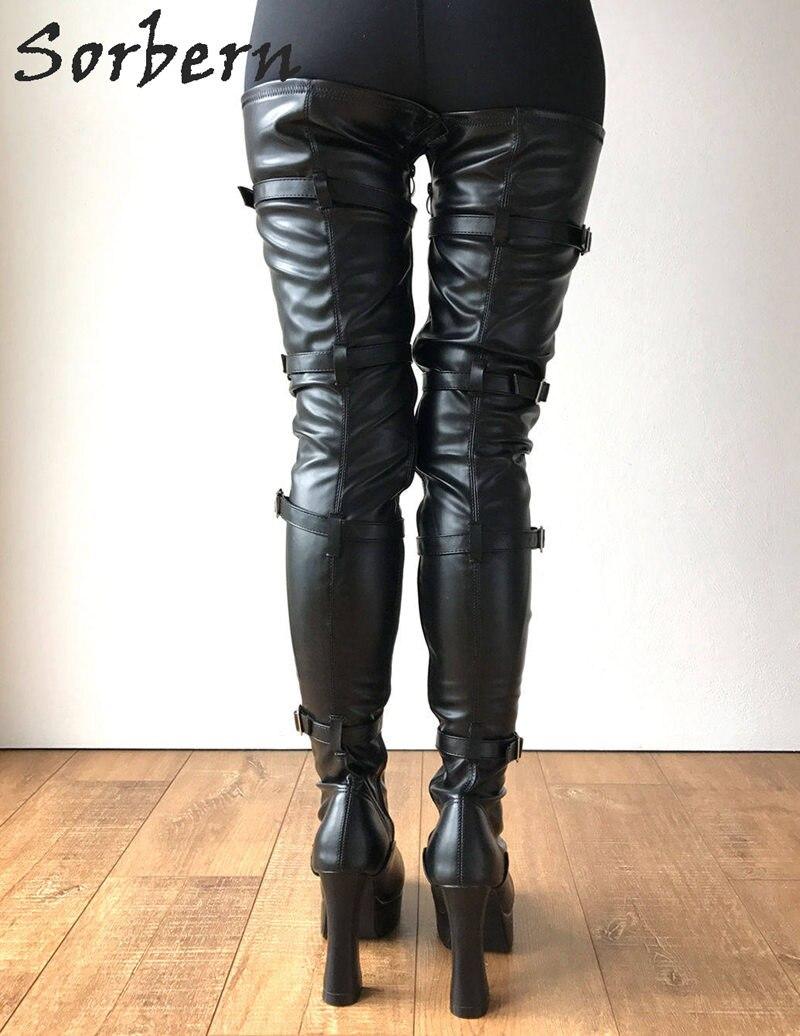 30e4fcfdd98 Sorbern Extra Long Leg Crotch Thigh High Boots 12Cm Spool Heel Platform  Lace Up Goth Punk Shoes Women Pinup Cosplay Fetish Boot