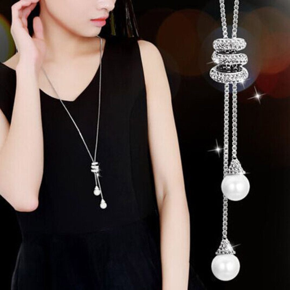 HOT Simulated Pearl Crystal Long Sweater Chain Circles Necklace Vintage Accessary Crystal Collares Statement Jewlery Dropship