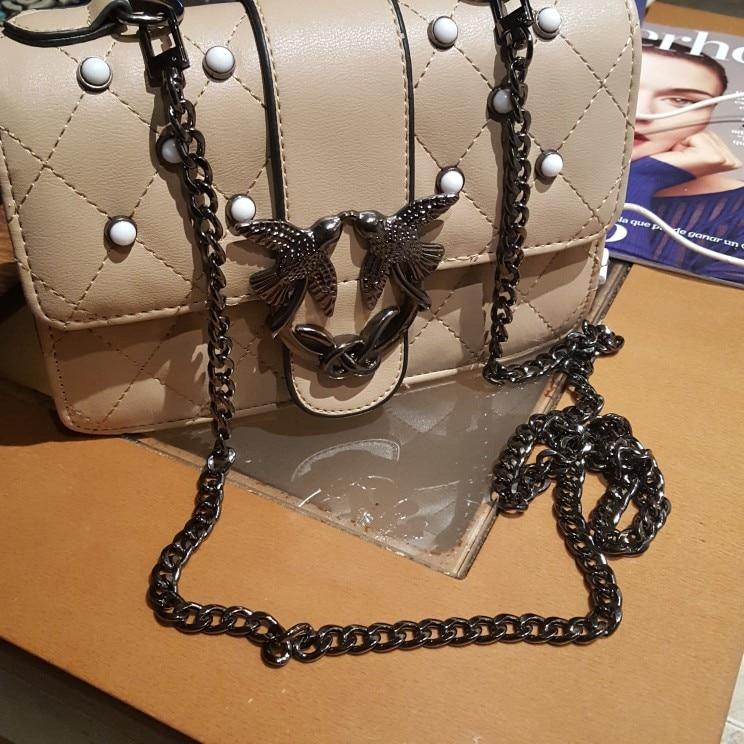 MM FOND New fashion women handbag chain strap super chic with 100cm/120cm length flat metal bag chain bag belts decoration photo review