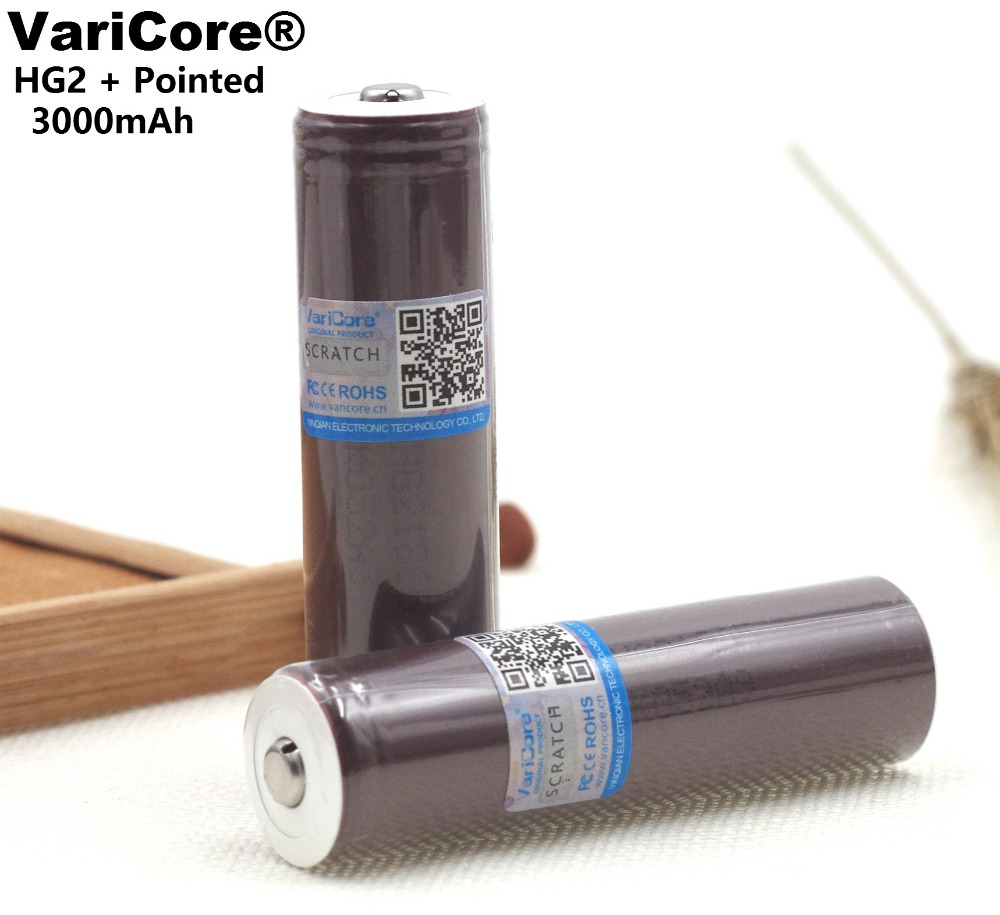 VariCore  HG2 18650 3000mAh battery 18650HG2 3.6V discharge 20A, dedicated electronic Power battery Plus pointed DIY