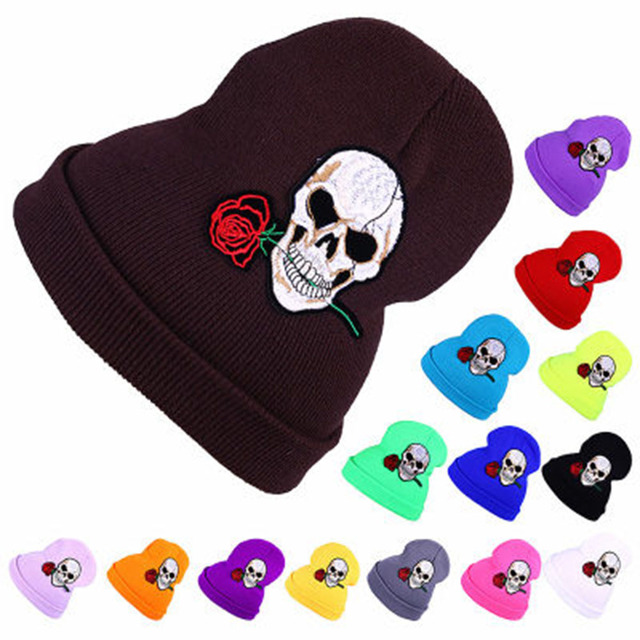 8dd5a068dcc 2018 Warm Wool Winter Hat Women Hats Girls Skull And Red Rose Cap Autumn Winter  Fashion Beanies Casual Knitted Caps