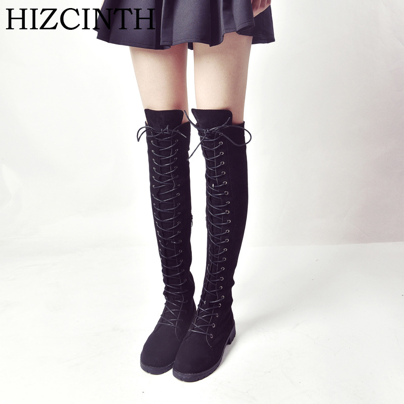 HIZCINTH 2017 Winter Boots Flats Long Boots Round Head Lace-up Knee-high Boots Side Zipper Suede Motorcycle Boots Women's Shoes