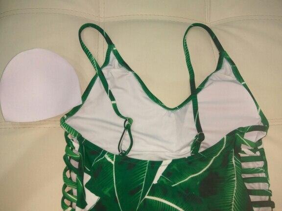 2018 Sexy One Piece Swimsuit Women Swimwear Green Leaf Bodysuit Bandage Cut Out Summer Beach Bathing Suit Swim Monokini Swimsuit