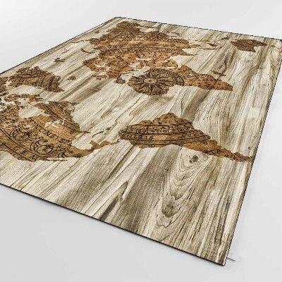 Else Brown Aging Wood World Earth Map Vintage 3d Print Non Slip Microfiber Living Room Decorative Modern Washable Area Rug Mat