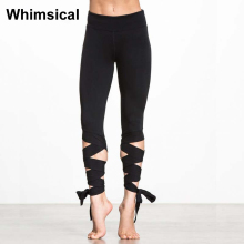 2017 Summer New Hot Winding High Waist Women Sports Leggings Elastic Straps Tight Leggings Ballet Dance Fitness Yoga Pants