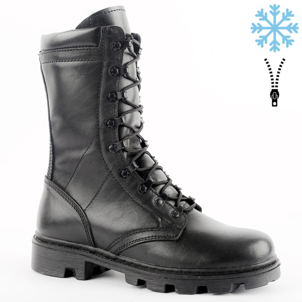genuine leather lace-up black army ankle boots with fur men high shoes flat military boots 5013/1 ZA
