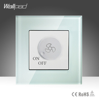 Fan Regulation Switch Wallpad White Luxury Tempered Glass 500W Rotary Fan Speed Regulate Dimming Wall Switch