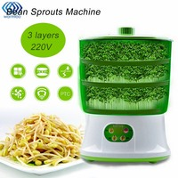 Automatic Bean Sprout Machine Three Layers US Plug Multifunctional Homemade Sprout Bud Machine Intelligent Microcomputer Control