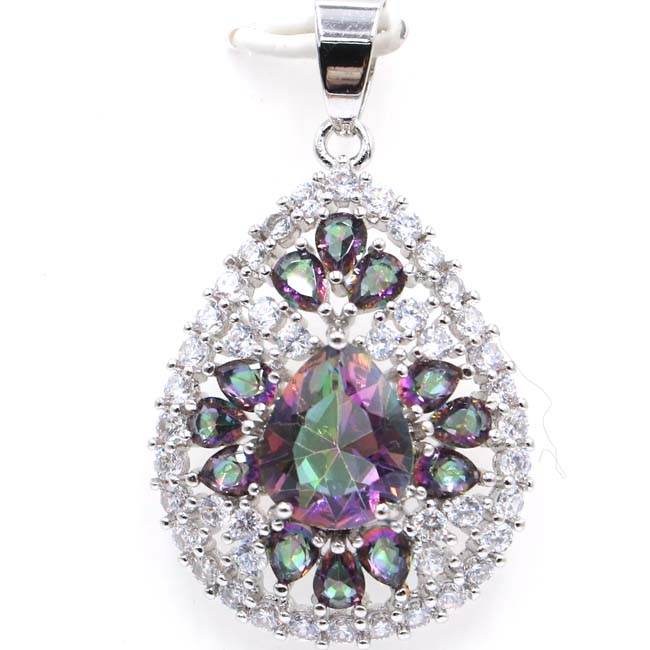 Luxury Drop Fire Rainbow Mystic Topaz Natural White CZ SheCrown Silver Pendant 38x23mm