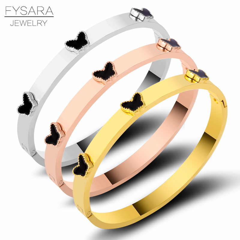 FYSARA Luxury Brand Stainless Steel Bangle Bracelet for Women Jewelry Stackable Butterfly Bangle Bridal Enamel Black Pulserias