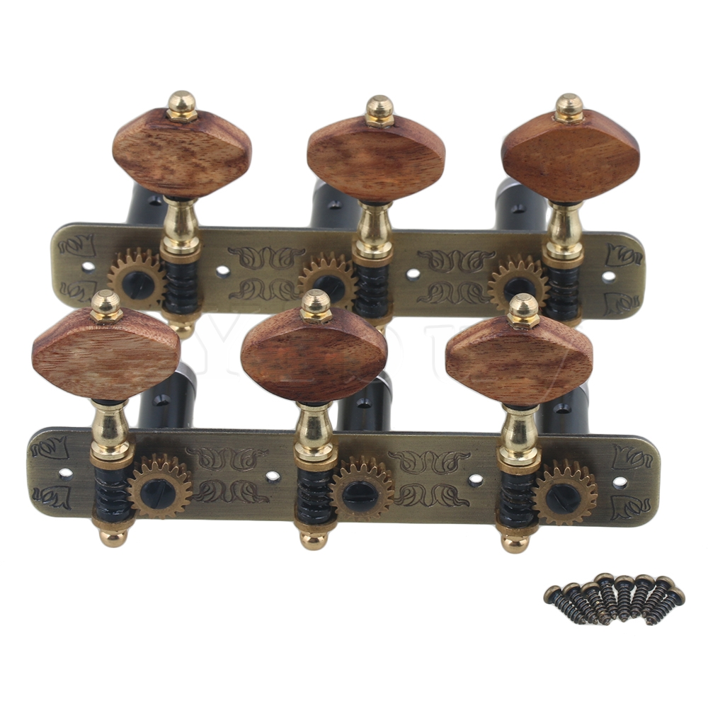 Yibuy  110x45x31mm Bronze Color Aluminum Alloy 3R3L Tuning Keys Classical Guitar Machine Heads Tuners Pack of 2 Yibuy  110x45x31mm Bronze Color Aluminum Alloy 3R3L Tuning Keys Classical Guitar Machine Heads Tuners Pack of 2