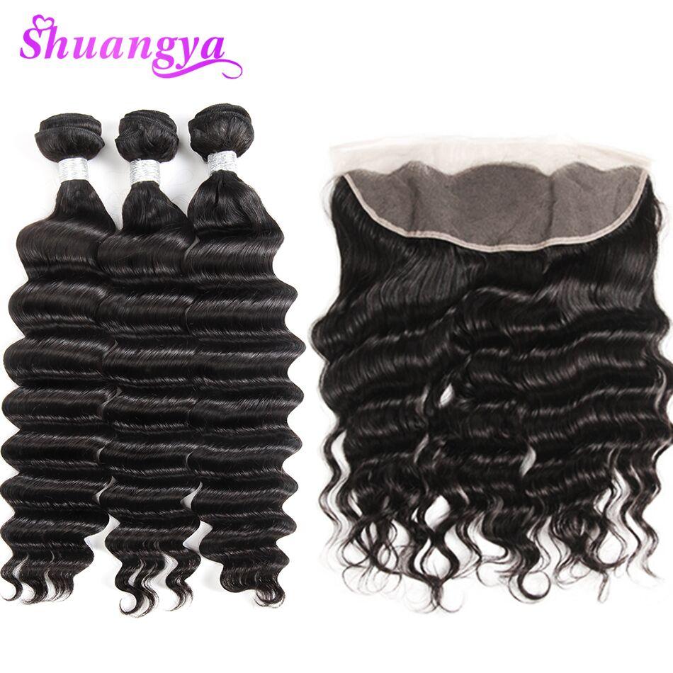 Loose Deep More Wave Human Hair 13 4 Frontal With Bundles Peruvian Hair Weave Bundles With