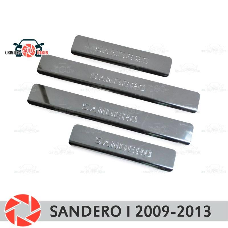 Soleiras de porta para Renault Sandero 2009-2013 passo placa interna scuff guarnição acessórios de proteção car styling decoração
