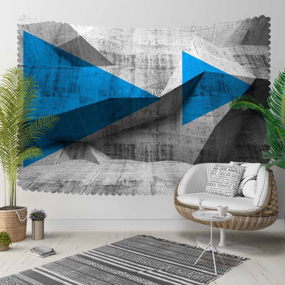 Else Gray Blue Black Triangles Arrow Nordec Abstract 3D Print Decorative Hippi Bohemian Wall Hanging Landscape Tapestry Wall Art