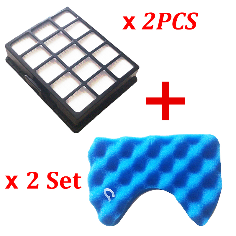 2PCS Dust Hepa Filter + 2 Set Blue Sponge Filters For Samsung DJ97-00492A SC6520 SC6530/40/50/60/70/80/90 SC68 Vacuum Cleaner
