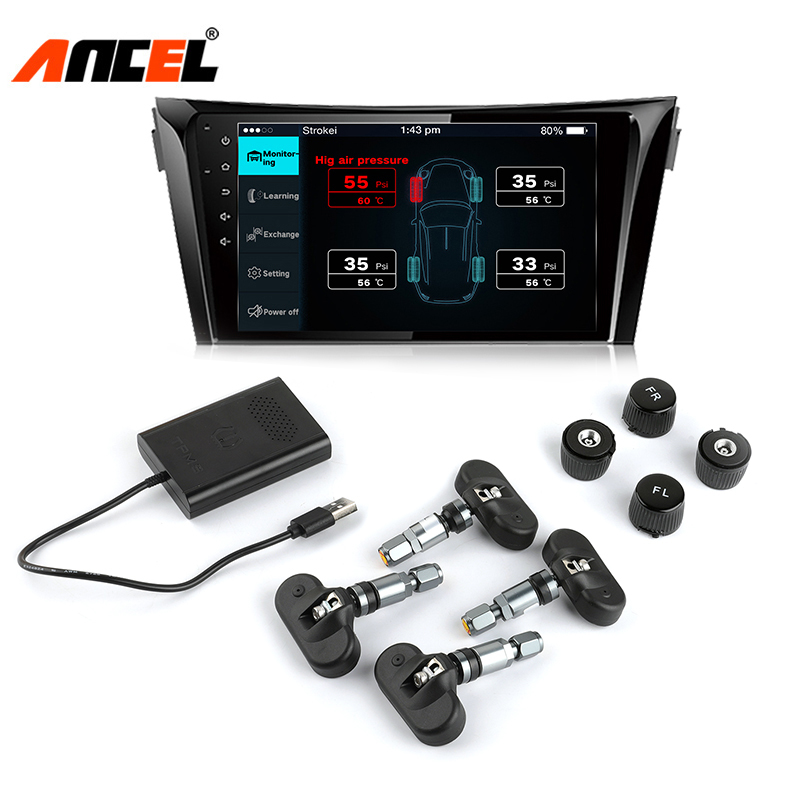 Ancel TPMS Tire Pressure Sensor Tire Pressure Monitoring System HUD Digital Display Monitor Android DVD TPMS