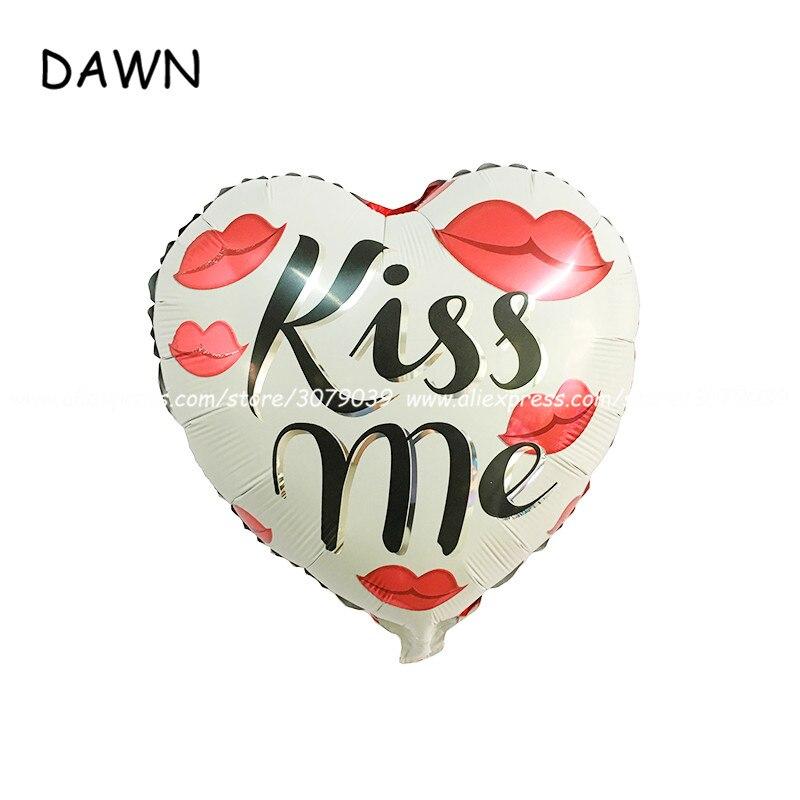 ୧ʕ ʔ୨25 unids/lote 18 pulgadas KISS ME Globos hoja Globos amor en ...
