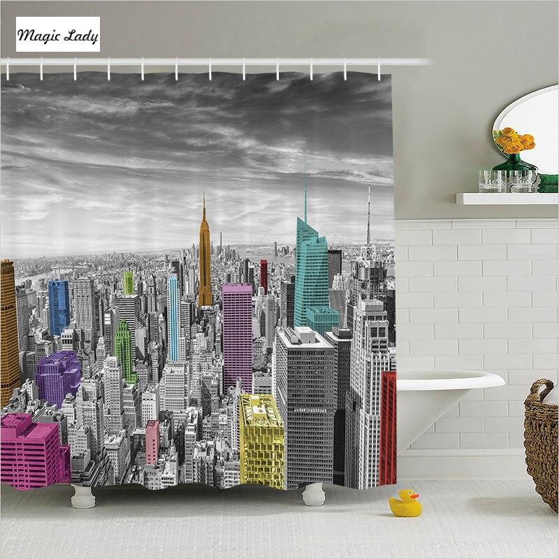 How To Create A Greyscale Bathroom: Shower Curtain New York Bathroom Accessories Skyline